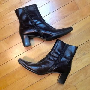 Paul Green Brown Leather Heeled Ankle Boots